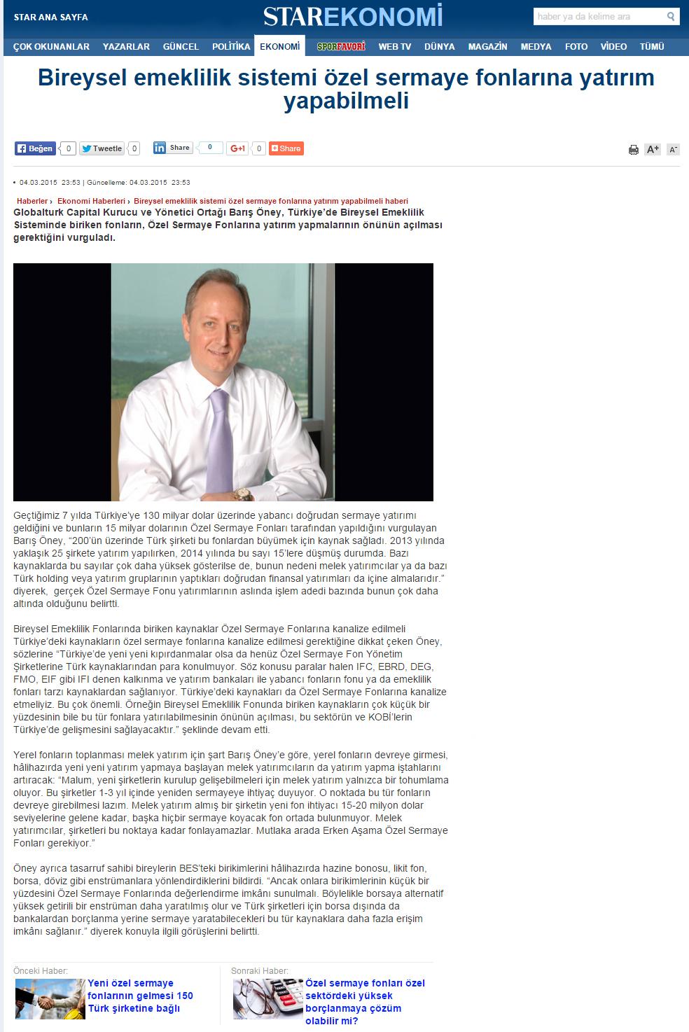 Bireysel Emeklilik Sistemi Özel Sermaye Fonlarına Yatırım Yapabilmeli | Star.com.tr