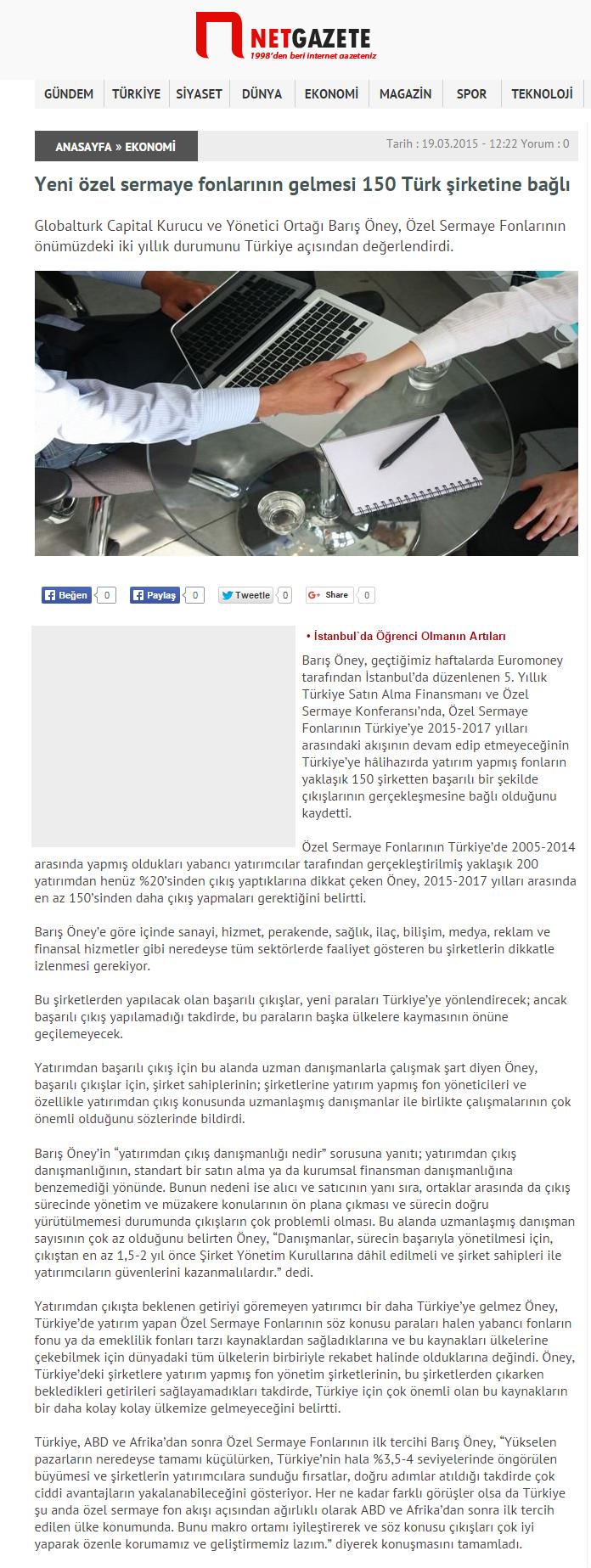 Yeni Özel Sermaye Fonlarının Gelmesi 150 Türk Şirketine Bağlı | Netgazete.com