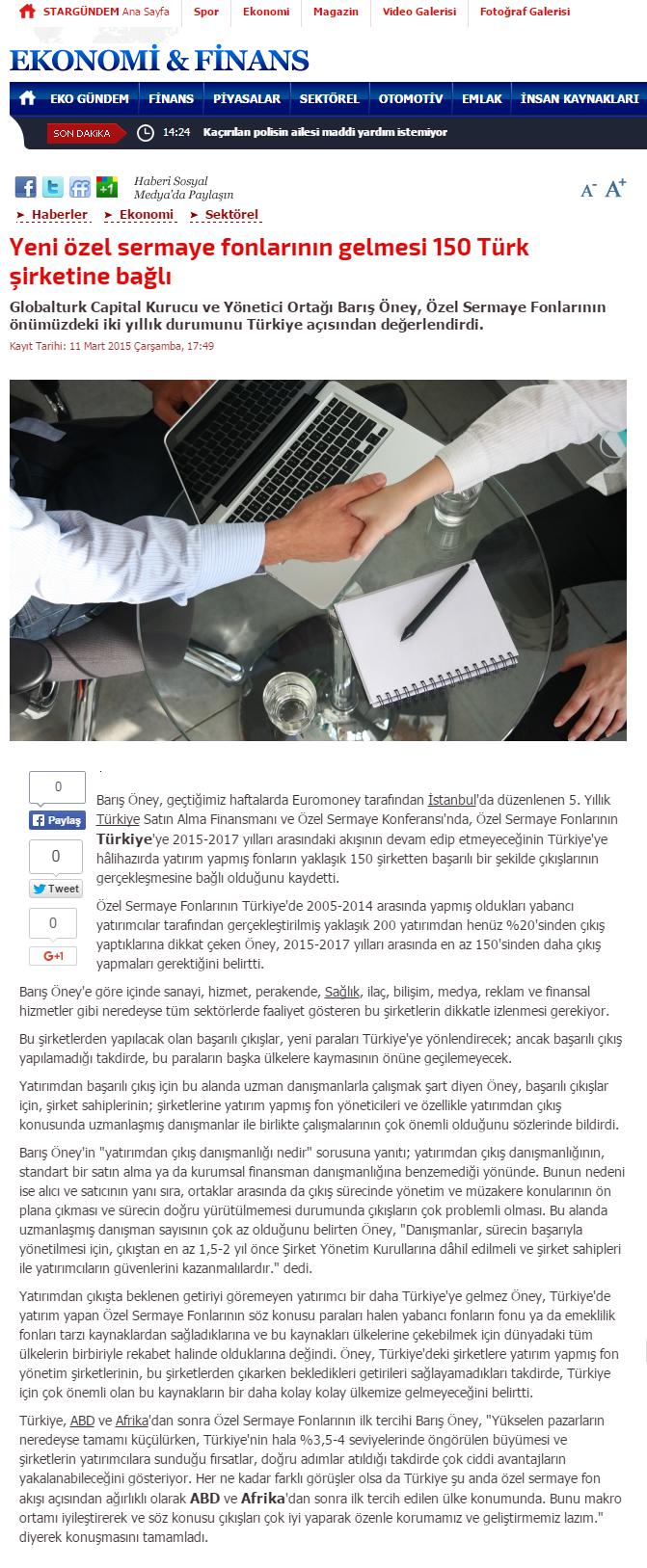 Yeni Özel Sermaye Fonlarının Gelmesi 150 Türk Şirketine Bağlı | Stargundem.com