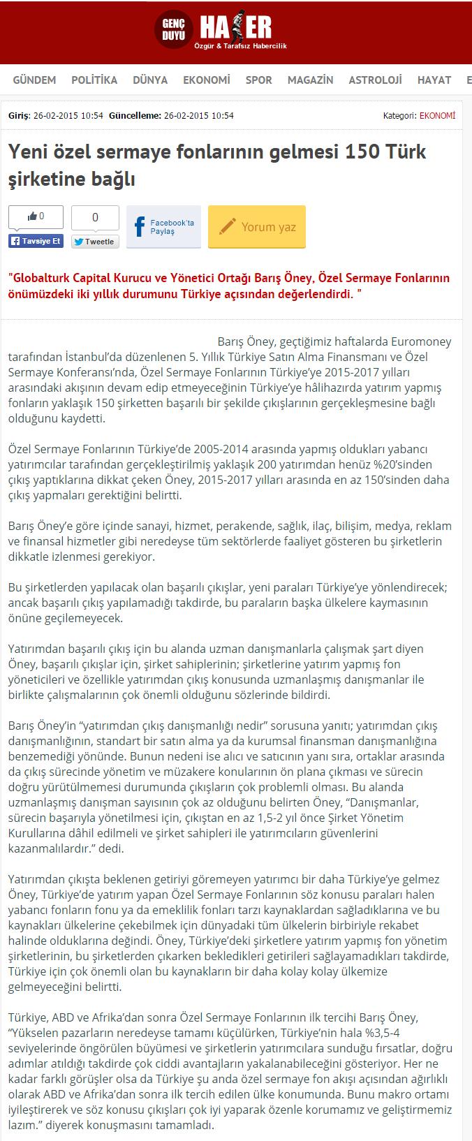Yeni Özel Sermaye Fonlarının Gelmesi 150 Türk Şirketine Bağlı | Gencduyu.com