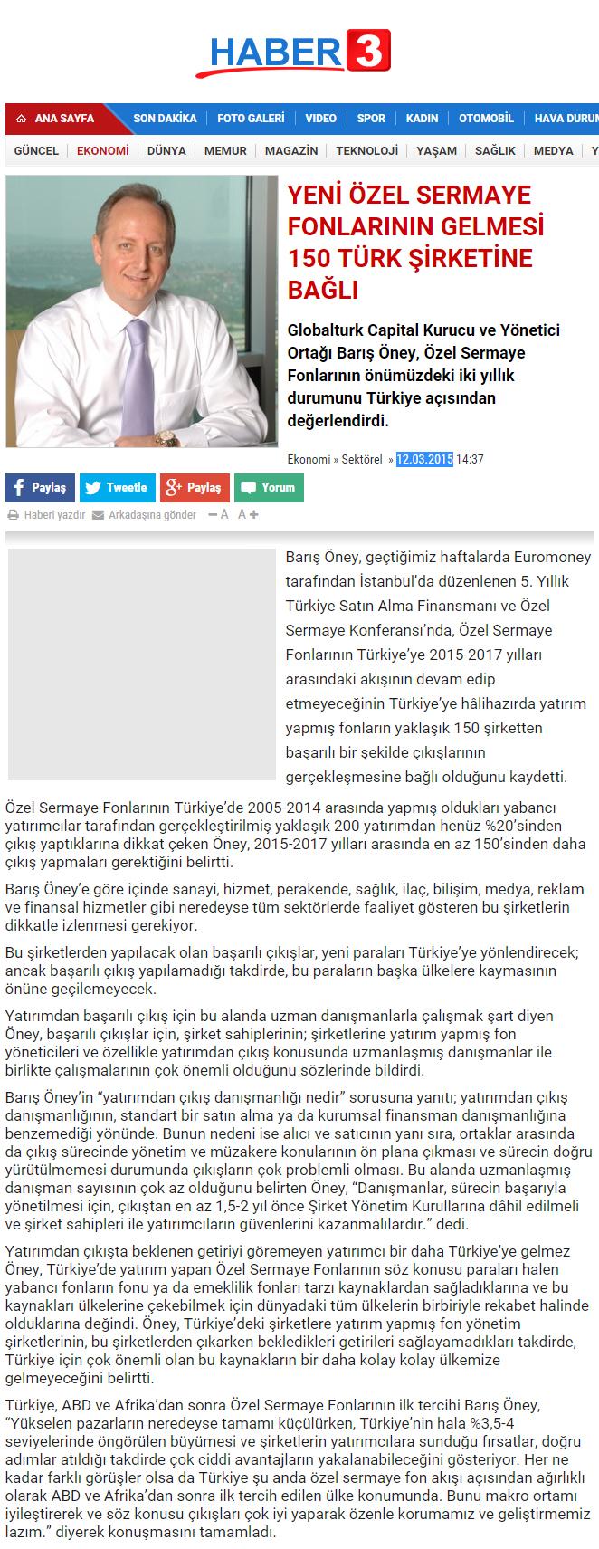 Yeni Özel Sermaye Fonlarının Gelmesi 150 Türk Şirketine Bağlı | Haber3.com