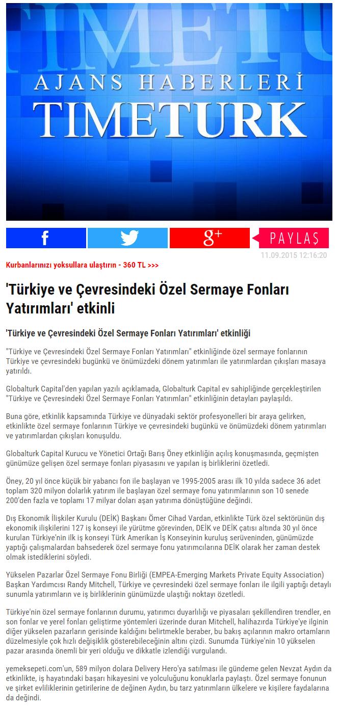 'Türkiye ve Çevresindeki Özel Sermaye Fonları Yatırımları' Etkinliği | Timeturk.com