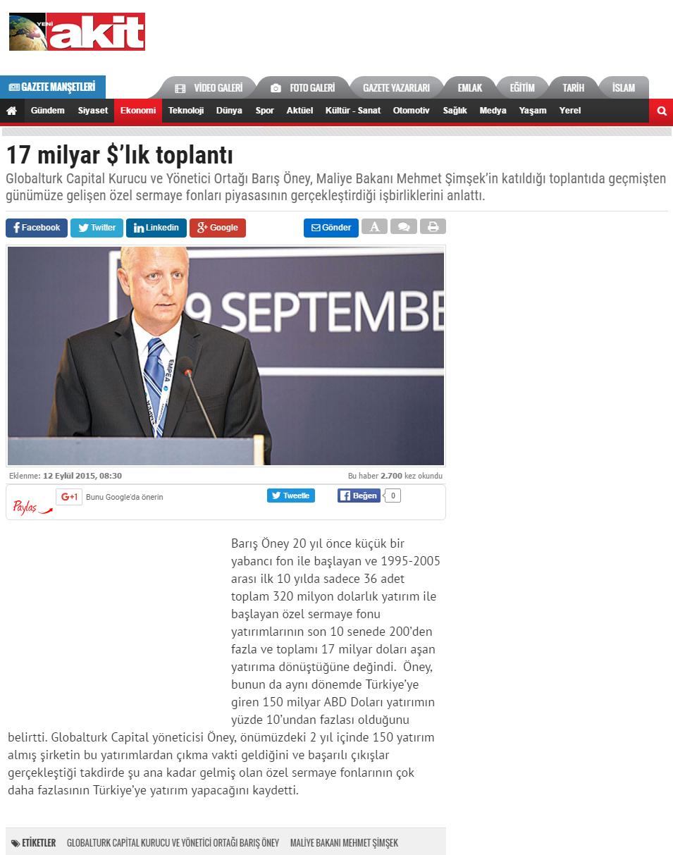 17 Milyar $'lık Toplantı | Yeniakit.com.tr