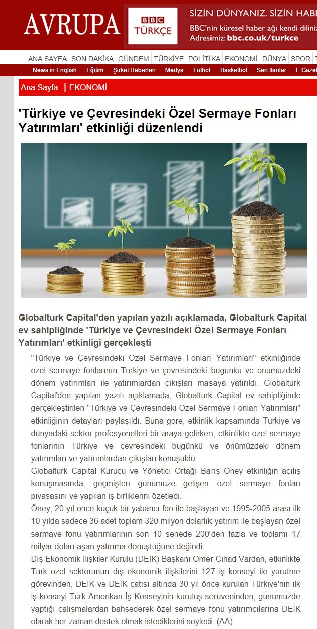 'Türkiye ve Çevresindeki Özel Sermaye Fonları Yatırımları' Etkinliği Düzenlendi | Avrupagazete.com