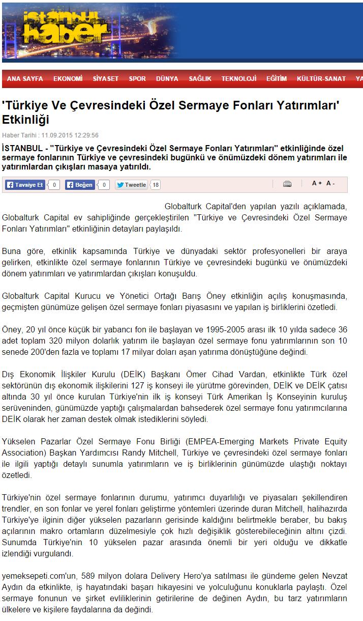 'Türkiye ve Çevresindeki Özel Sermaye Fonları Yatırımları' Etkinliği | Haberistanbul.info