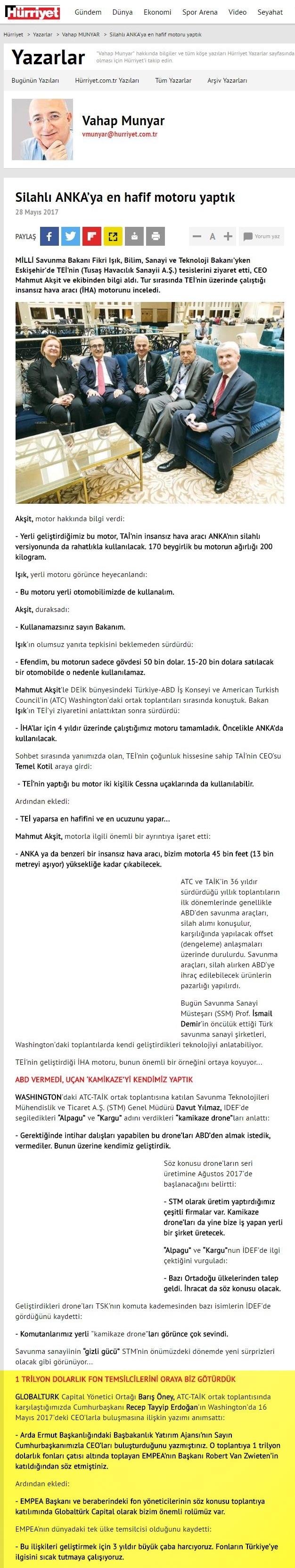 Silahlı ANKA'ya En Hafif Motoru Yaptık | Hurriyet.com.tr