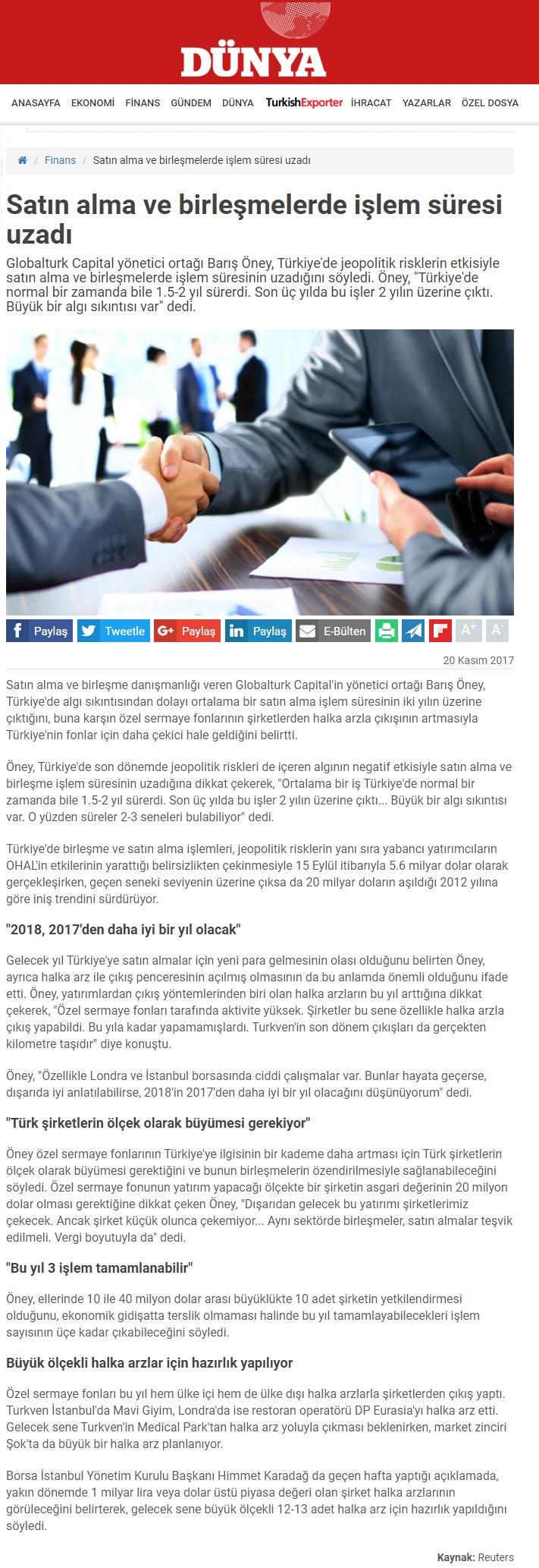Satın Alma ve Birleşmelerde İşlem Süresi Uzadı | Dunya.com