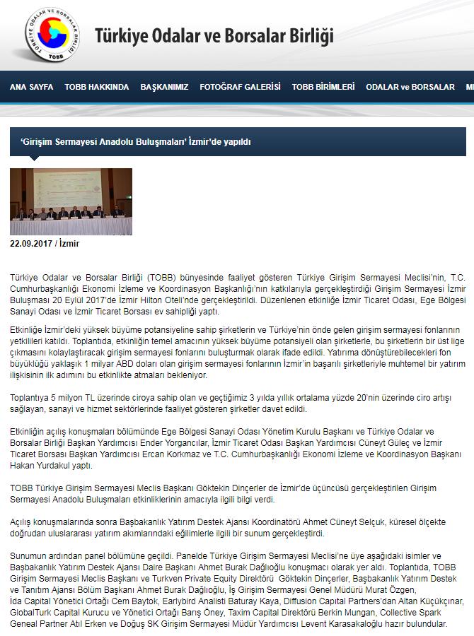 'Girişim Sermayesi Anadolu Buluşmaları' İzmir'de Yapıldı | TOBB.org.tr